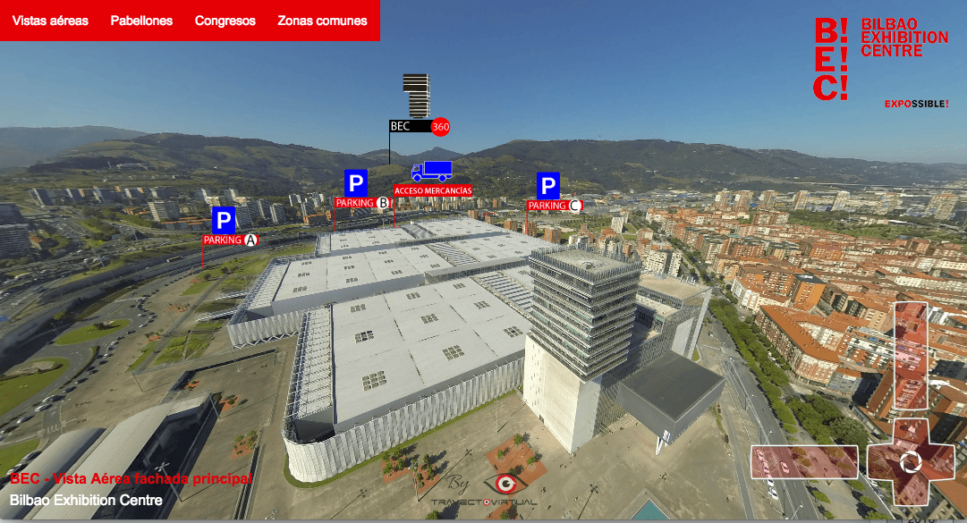 Visita Virtual aérea y terrestre del Bilbao Exhibition Centre - BEC https://bilbaoexhibitioncentre.com/wp-content/visita-virtual-bec/es/